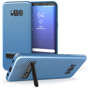 Samsung Galaxy S8 Plus Carbon Fibre Textured Gel Case with Kickstand - Blue
