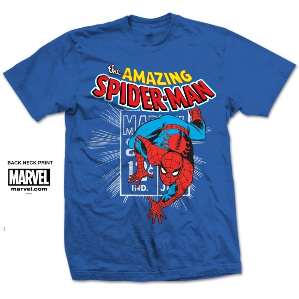 Marvel Comics Spidey Stamp Mens Blue T Shirt Large