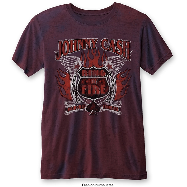 Johnny Cash - Ring of Fire Unisex Large T-Shirt - Blue,Red