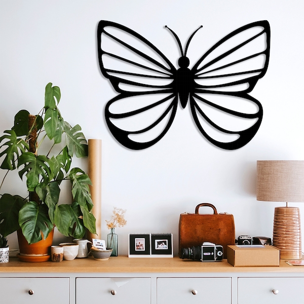 Butterfly 4 Black Decorative Metal Wall Accessory