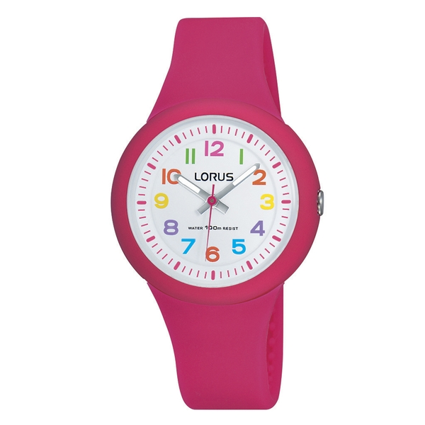 Lorus RRX49EX9 Kids Pink Soft Silicone Strap Watch with Colourful Arabic Numerals