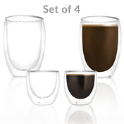 Double Walled Insulated Glasses | Coffee Glass Cup | M&W Set of 4 - 80ml & 350ml