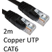 RJ45 (M) to RJ45 (M) CAT6 2m Black OEM Moulded Boot Copper UTP Network Cable - Image 2