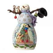 Disney Traditions Mischief and Merriment Snowman with Mickey and Pluto scene