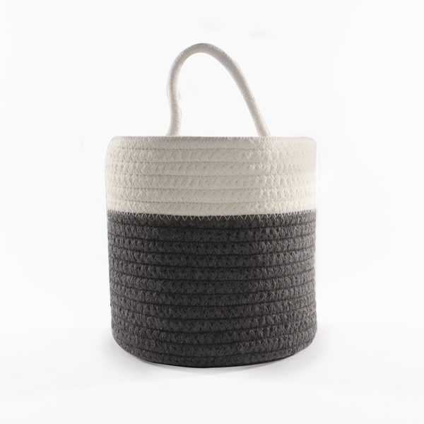 Hanging Cotton Rope Basket | M&W Grey & White - Image 1