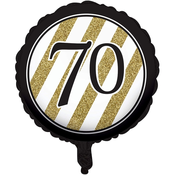 70th Foil Balloon Black & Gold