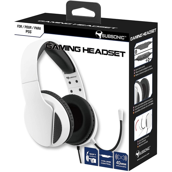 Subsonic White Gaming Headset with Microphone for PS5