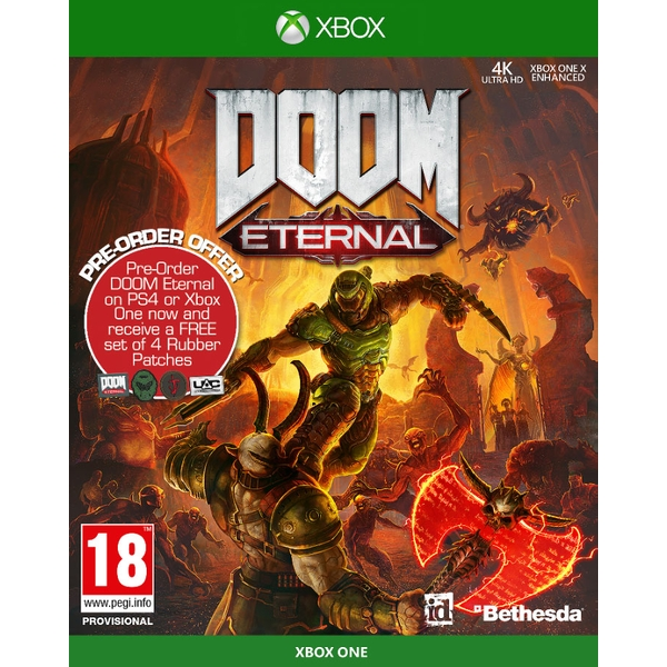 Doom Eternal Xbox One Game + Set of 4 Rubber Patches (Inc DLC Pack)