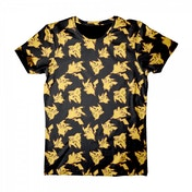 Pokemon Pikachu All-Over Print Medium T-Shirt - Black/Yellow