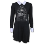 Witch Nights Women's X-Large Peterpan Collar Baby Doll Long Sleeve Dress - Black