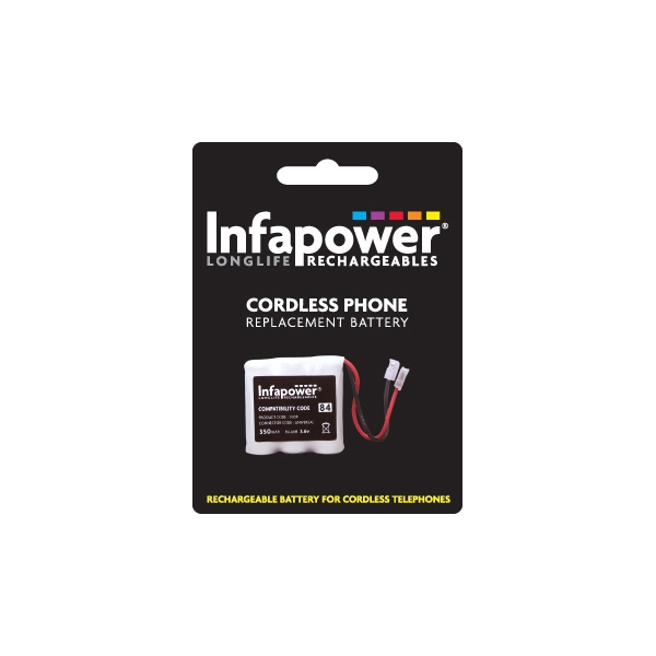 Infapower Rechargeable Ni-MH Battery for Cordless Telephones 3 x 2/3 AAA 3.6v 350mAh