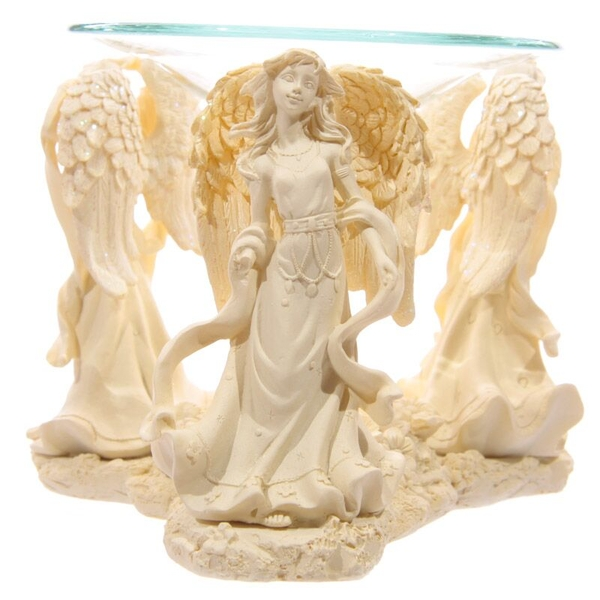 Cream Angel Design Oil Burner with Glass Dish