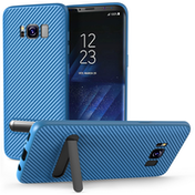 Samsung Galaxy S8 Carbon Fibre Textured Gel Case with Kickstand - Blue