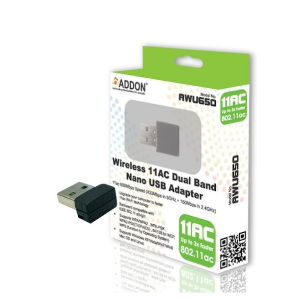 ADDON Wireless AC Dual Band 600Mbps Nano USB Adapter (AWU650)