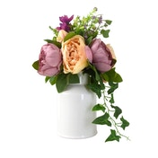 Faux Dusky Peonies and Blooms in White Ceramic Vase