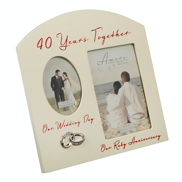 AMORE BY JULIANA Double Anniversary Frame - 40 Years