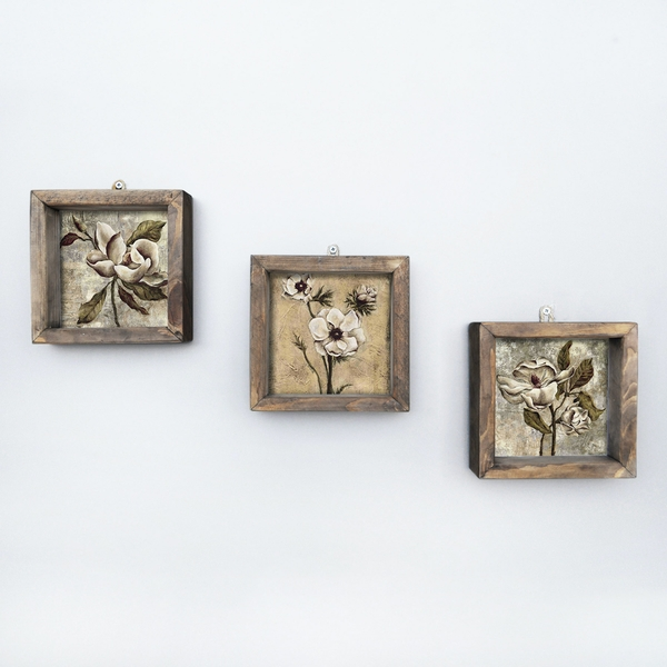 UKZM002 Multicolor Decorative Framed MDF Painting (3 Pieces)