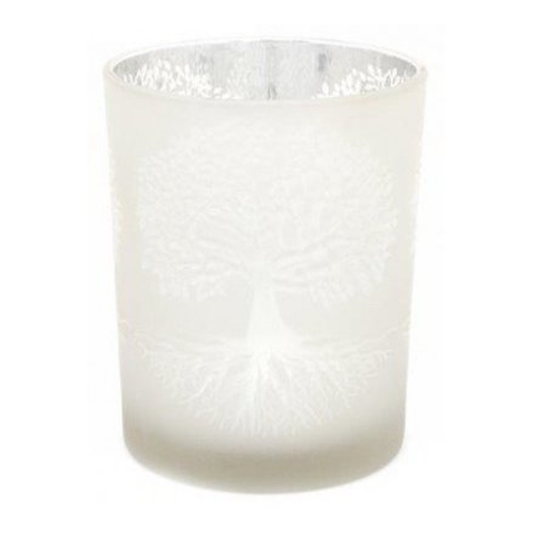 Silver Tree Glass Candle Pot 12cm