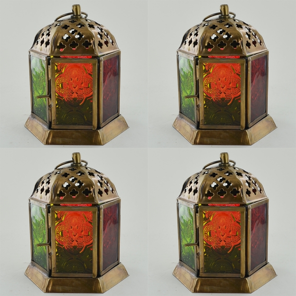 Brass Antique Colour Glass Morroccan Lanterns (Set of 4)
