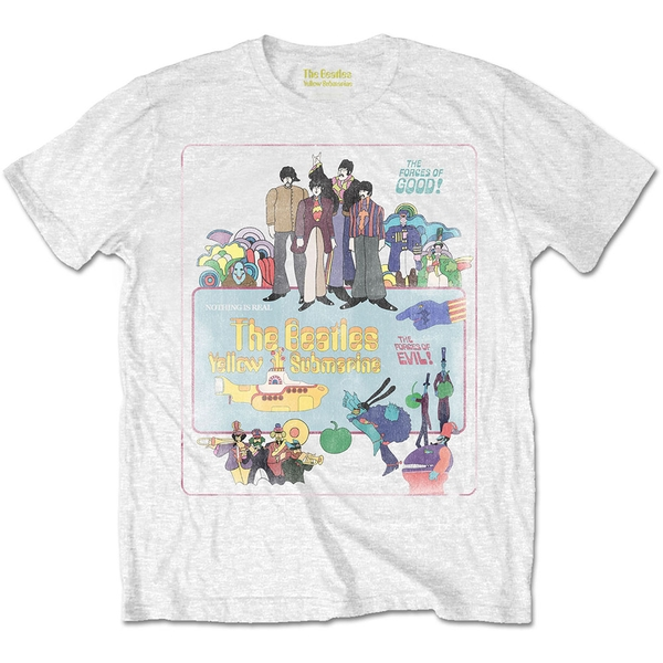 The Beatles - Yellow Submarine Vintage Movie Poster Men's X-Large T-Shirt - White