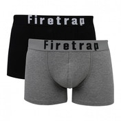 Firetrap 2 Pack Mens Trunk Boxer Shorts Black & Grey Large