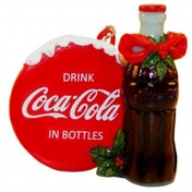 Coca Cola Bottle with Disk Christmas Tree Decoration