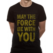 Star Wars - Force Text Men's Large T-Shirt - Black