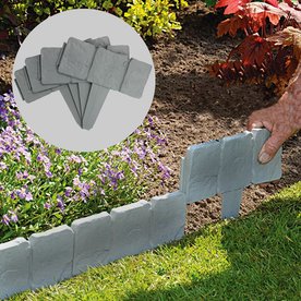 5m Grey Stone Effect Lawn Edging | Pack of 20 | Pukkr