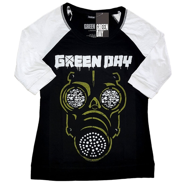 Green Day - Green Mask Ladies XXXX-Large T-Shirt - Black,White