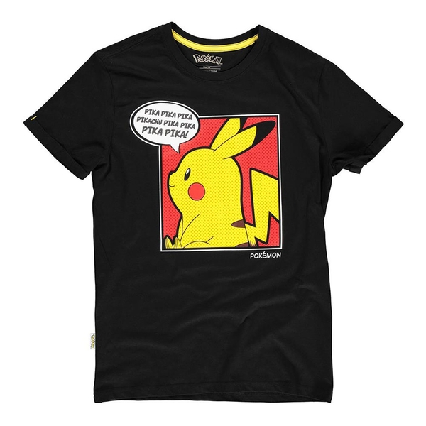 Pokemon - Pika Pika Pika PopArt Male Large T-Shirt - Black