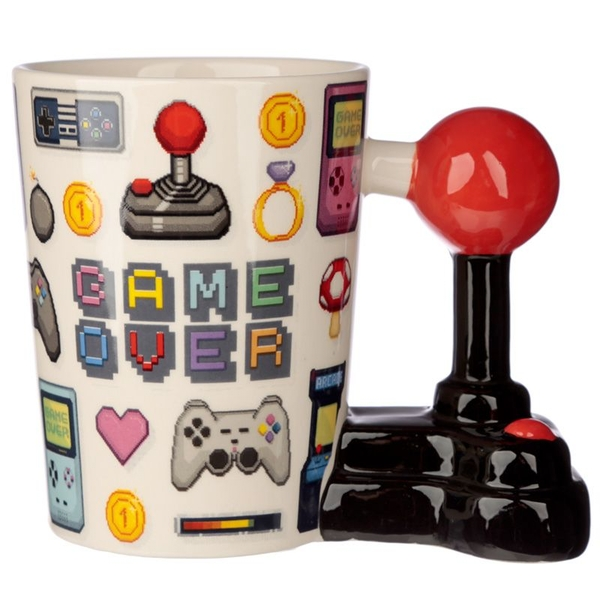 Gaming Joystick Shaped Handle Mug with Pixel Decal
