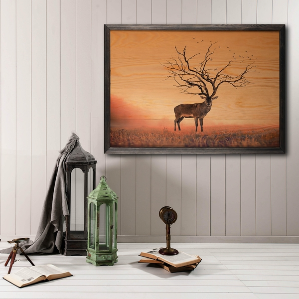Stag Tree XL Multicolor Decorative Framed Wooden Painting