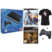 500GB Super Slim Console + Battlefield 4 + T-Shirt + Uncharted 3 Game + Controller PS3