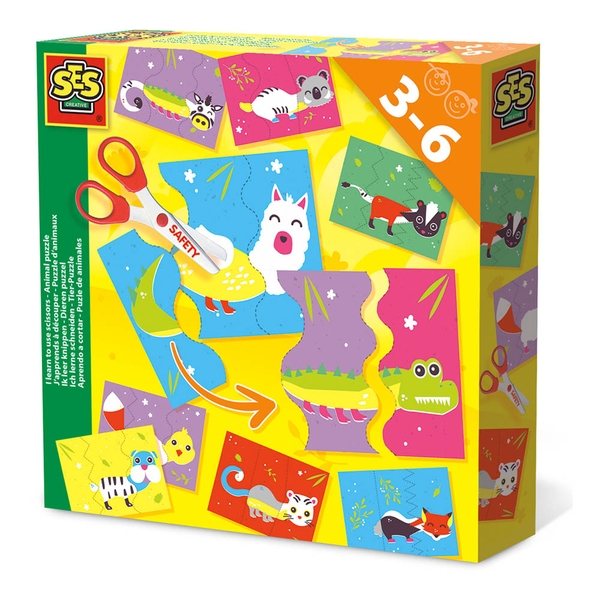 SES Creative - Children's I Learn to Use Scissors Animal Puzzle Set (Multi-colour)