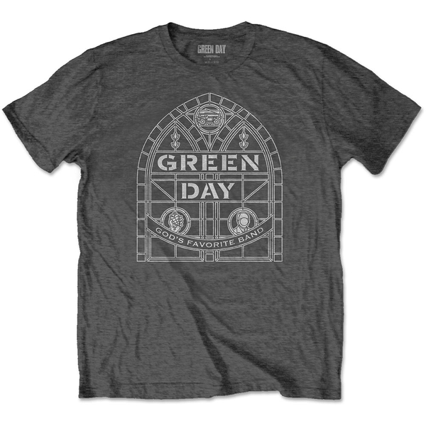 Green Day - Stained Glass Arch Unisex Large T-Shirt - Grey