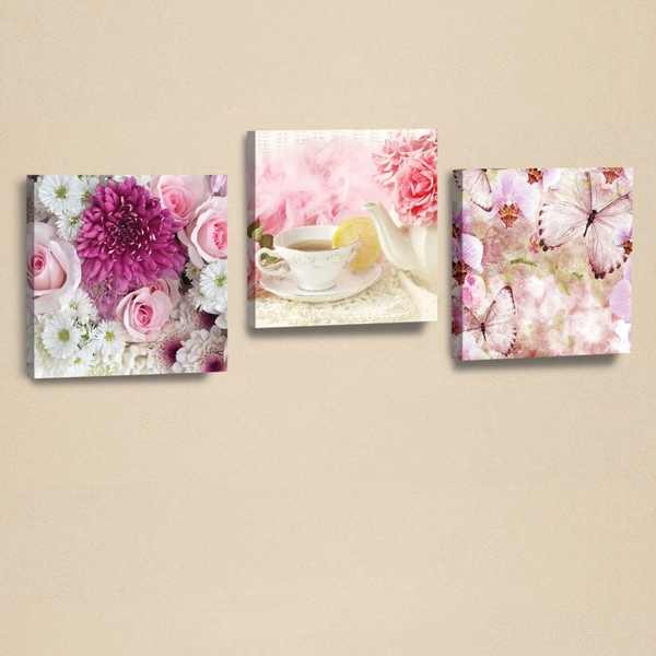 AHM064 White Pink Fuchsia Green Decorative PU Leather Painting (3 Pieces)