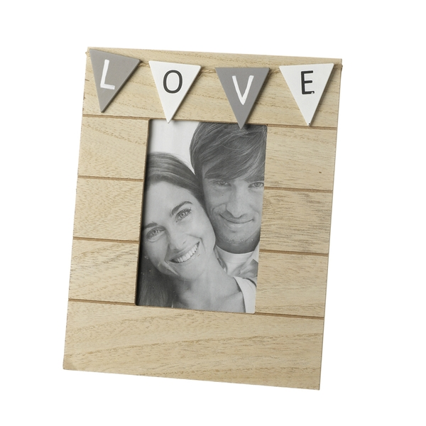 Grey Bunting LOVE Wooden Photo Frame By Heaven Sends