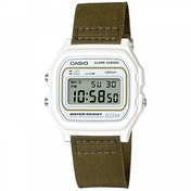 Casio W-59B-3AVEF Casual Digital Watch with White Case & Green Cloth Strap