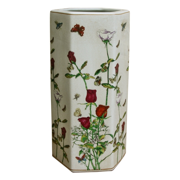 Ceramic Hexagonal Umbrella Stand With Butterfly Design