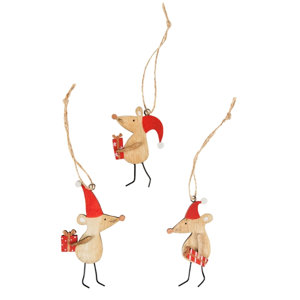 Sass & Belle Christmas Mice Wooden Hanging Decoration (One Random Supplied)