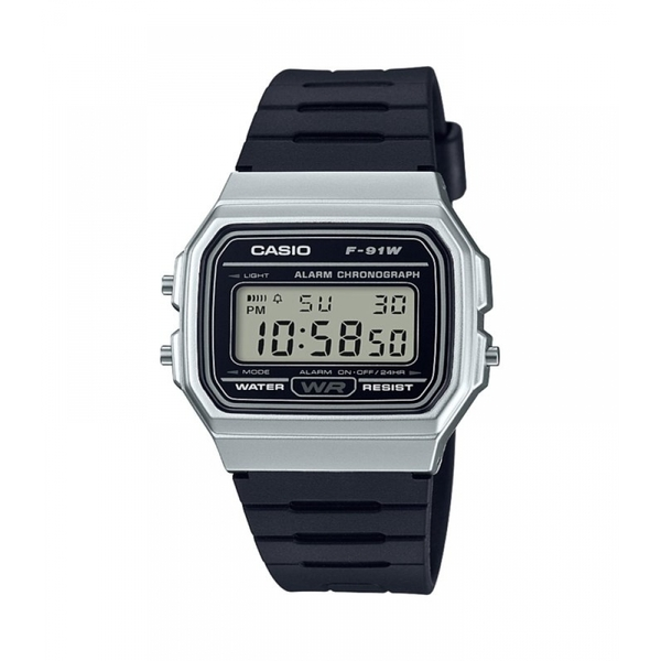 Casio F-91WM-7AEF Casual Digital Watch with Black Rubber Strap & Silver Plated Case