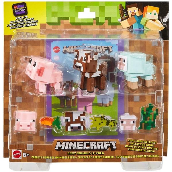 Minecraft Baby Animals Comic Mode 3-pack With Animal Accessories