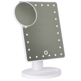 LED Light Up Illuminated Make Up Bathroom Mirror With Magnifier | Pukkr White