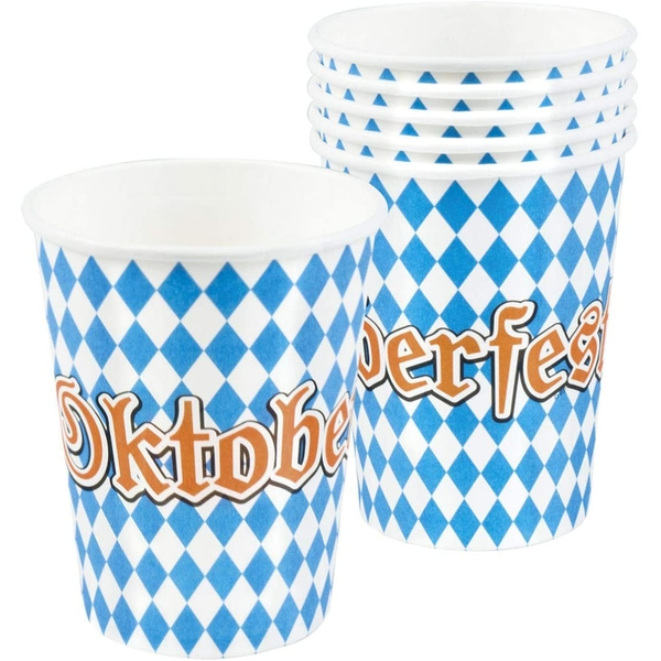 Oktoberfest Plastic Cups Blue/White (pack of 6)