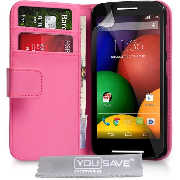 YouSave Accessories Motorola Moto E Leather-Effect Wallet Case - Hot Pink