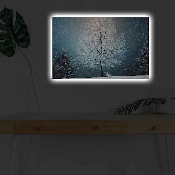 4570KARDACT - 009 Multicolor Decorative Led Lighted Canvas Painting