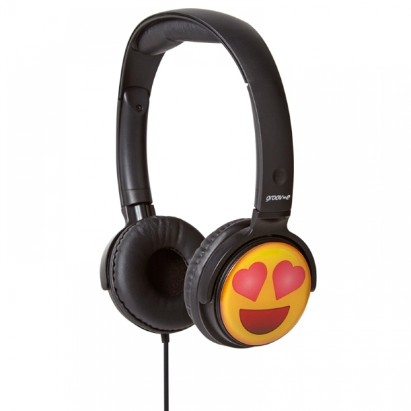 Groov-e EarMOJI's Stereo Headphones Heart Eyes Face