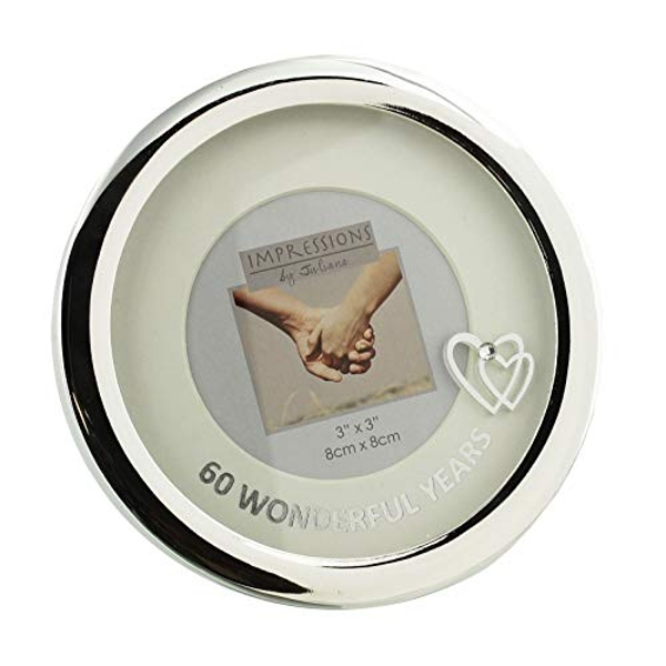 "3"" x 3"" - Silver Plated Round Photo Frame - 60th Anniversary"