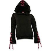 Gothic Elegance Red Ribbon Gothic Women's X-Large Hoodie - Black