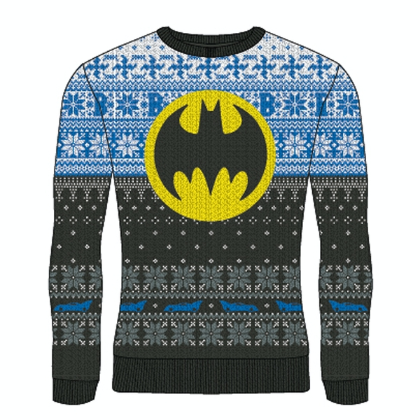 Image of DC Batman - Yellow Logo Unisex Large Knitted Jumper - Multi-Colour